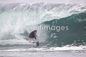 Wardo can surf his 5`5 AVISO anywhere, anytime!  Pulling in down in Chile..