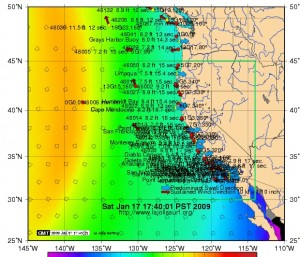 California buoy reading for Saturday evening..