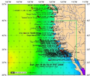 West Coast buoy reading for Sunday night