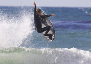 Gavin Sutherland blasting off on his 5`0 AVISO!