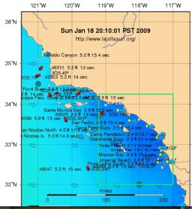 Southern California buoy reading for Sunday night... Hopefully some more swell will sneak in tomorrow!