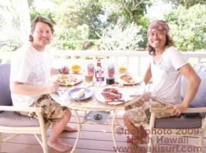 John and Naki...Post surf recovery session in paradise!