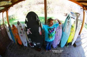 Donavon showing his favorite board in the quiver, his 5`9 DOC/Aviso &quot;New Toy&quot;