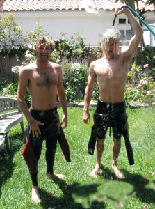 Mikey D and Sea Walk hosing around in the yard...