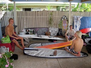 Downtime in Noosa... Check out the 5`0 BD3 and 10`0 CJ Nelson Aviso with custom artwork in the background