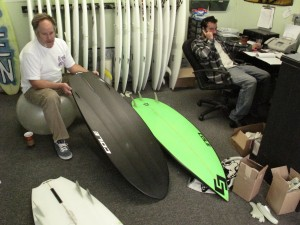 Cole checking out the single fin adaptation of the original 5`0 BD3