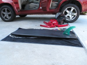5`0 Aviso BD3 set up with a 7 1/2 inch single fin